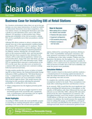Primary view of object titled 'Business Case for Installing E85 at Retail Stations'.