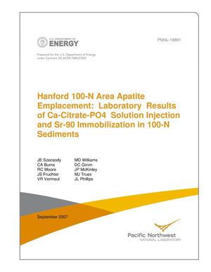 Primary view of object titled 'Hanford 100N Area Apatite Emplacement: Laboratory Results of Ca-Citrate-PO4 Solution Injection and Sr-90 Immobilization in 100N Sediments'.