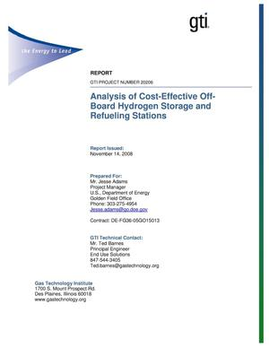 Primary view of object titled 'Analysis of Cost-Effective Off-Board Hydrogen Storage and Refueling Stations'.
