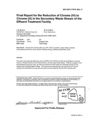 Primary view of object titled 'FINAL REPORT FOR THE REDUCTION OF CHROME (VI) TO CHROME (III) IN THE SECONDARY WASTE STREAM OF THE EFFLUENT TREATMENT FACILITY'.