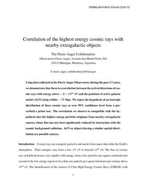 Primary view of object titled 'Correlation of the highest energy cosmic rays with nearby extragalactic objects'.