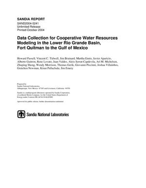 Primary view of object titled 'Data collection for cooperative water resources modeling in the Lower Rio Grande Basin, Fort Quitman to the Gulf of Mexico.'.