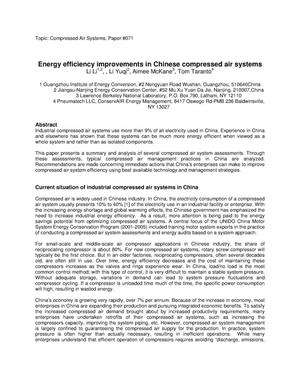 Primary view of object titled 'Energy efficiency improvements in Chinese compressed airsystems'.