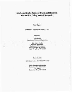 Primary view of object titled 'Mathematically Reduced Chemical Reaction Mechanism Using Neural Networks'.