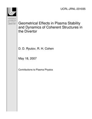 Primary view of object titled 'Geometrical Effects in Plasma Stability and Dynamics of Coherent Structures in the Divertor'.