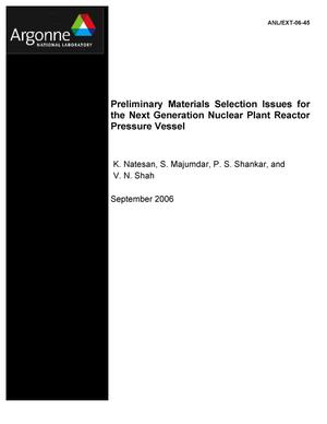 Primary view of object titled 'Preliminary materials selection issues for the next generation nuclear plant reactor pressure vessel.'.
