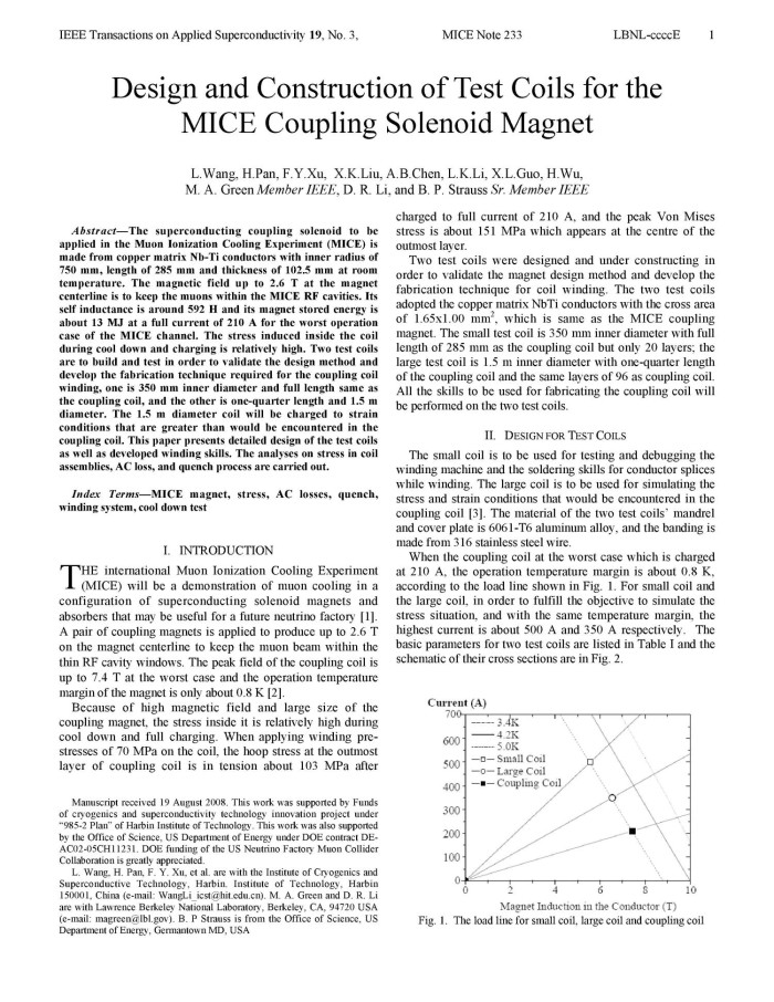 Design and Construction of Test Coils for the MICE Coupling Solenoid