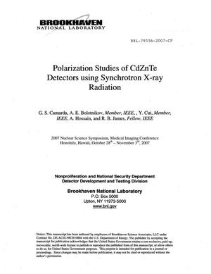 Primary view of object titled 'Polarization Studies of CdZnTe Detectors Using Synchrotron X-Ray Radiation.'.