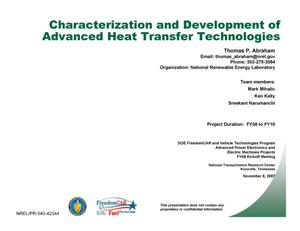 Primary view of object titled 'Characterization and Development of Advanced Heat Transfer Technologies (Presentation)'.