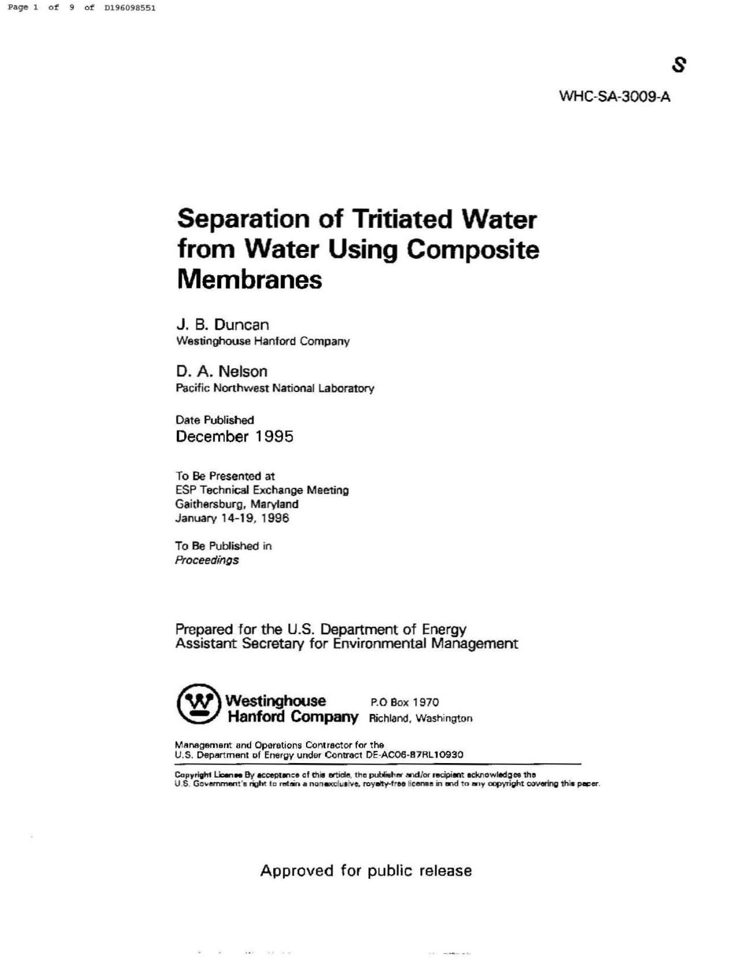 SEPARATION OF TRITIATED WATER FROM WATER USING COMPOSITE MEMBRANES                                                                                                      [Sequence #]: 1 of 7