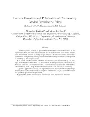 Primary view of object titled 'Domain evolution and polarization of continuously graded ferroelectric films'.