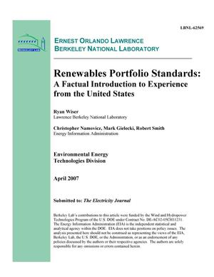Primary view of object titled 'Renewables Portfolio Standards: A Factual Introduction toExperience from the United States'.