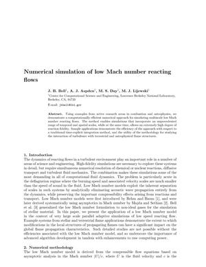 Primary view of object titled 'Numerical simulation of low Mach number reacting flows'.