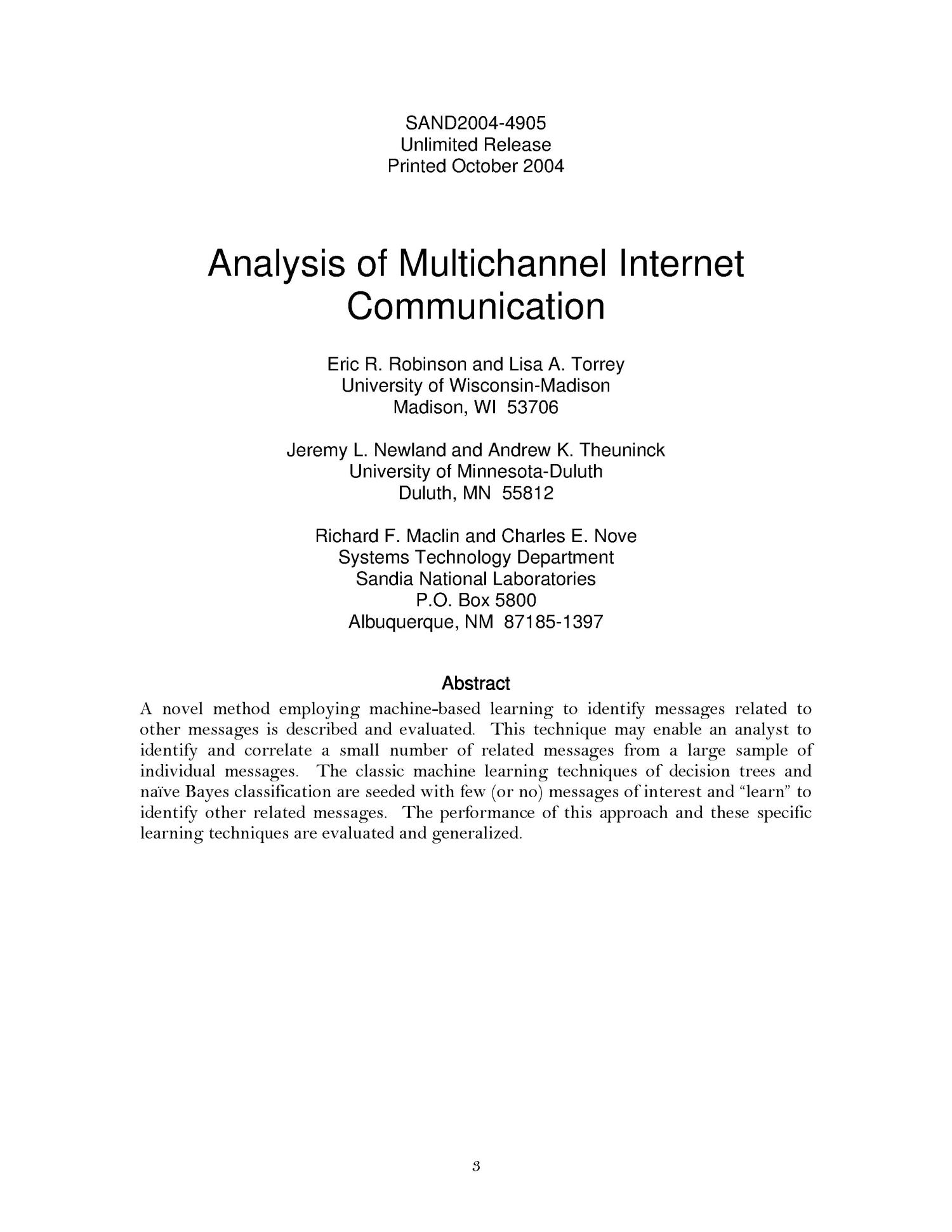 Analysis of multichannel internet communication.                                                                                                      [Sequence #]: 3 of 28