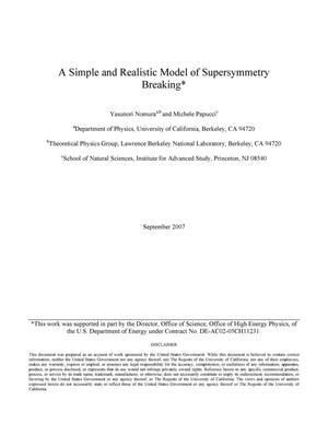 Primary view of object titled 'A simple and realistic model of supersymmetry breaking'.
