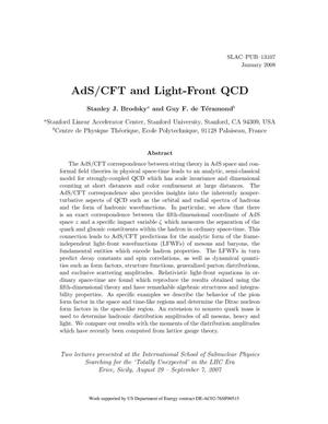 Primary view of object titled 'AdS/CFT and Light-Front QCD'.