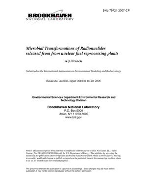Primary view of object titled 'MICROBIAL TRANSFORMATIONS OF RADIONUCLIDES RELEASED FROM NUCLEAR FUEL REPROCESSING PLANTS.'.