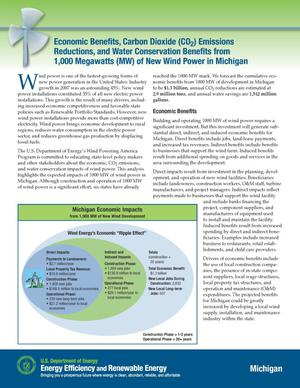 Primary view of object titled 'Economic Benefits, Carbon Dioxide (CO2) Emissions Reductions, and Water Conservation Benefits from 1000 Megawatts (MW) of New Wind Power in Michigan'.