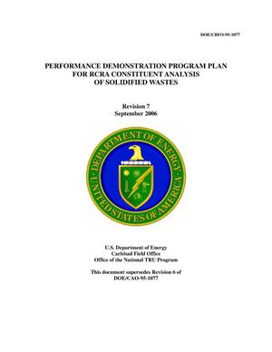 Primary view of object titled 'Performance Demonstration Program Plan for RCRA Constituent Analysis of Solidified Wastes'.