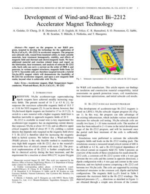 Primary view of object titled 'Development of Wind-and-React Bi-2212 Accelerator Magnet Technology'.