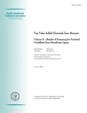Primary view of object titled 'Top Value-Added Chemicals from Biomass - Volume II—Results of Screening for Potential Candidates from Biorefinery Lignin'.