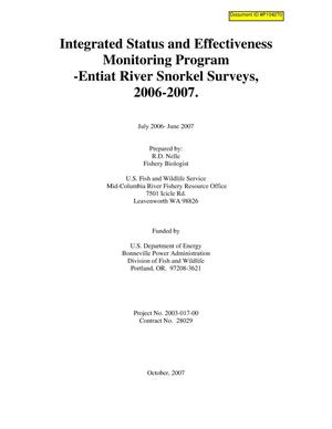 Primary view of object titled 'Integrated Status and Effectiveness Monitoring Program - Entiat River Snorkel Surveys, 2006-2007.'.