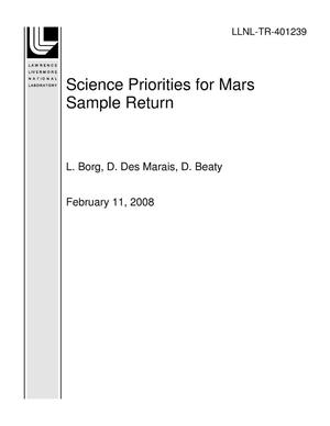 Primary view of object titled 'Science Priorities for Mars Sample Return'.