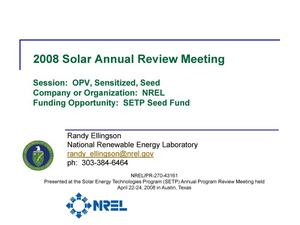 Primary view of object titled 'SETP Seed Fund, Session: OPV, Sensitized, Seed (Presentation)'.
