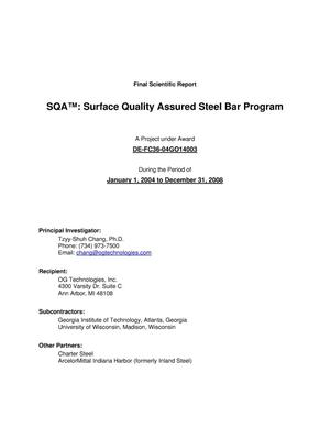 Primary view of object titled 'SQA(TM): Surface Quality Assured Steel Bar Program'.