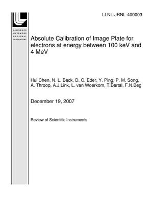 Primary view of object titled 'Absolute Calibration of Image Plate for electrons at energy between 100 keV and 4 MeV'.
