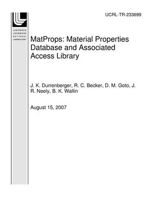 Primary view of object titled 'MatProps: Material Properties Database and Associated Access Library'.