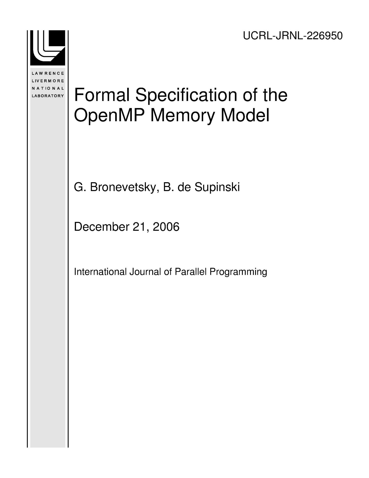 Formal Specification of the OpenMP Memory Model                                                                                                      [Sequence #]: 1 of 41