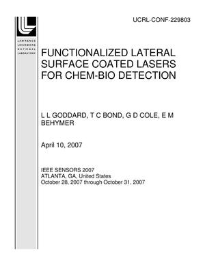 Primary view of object titled 'FUNCTIONALIZED LATERAL SURFACE COATED LASERS FOR CHEM-BIO DETECTION'.