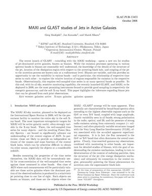 Primary view of object titled 'MAXI and GLAST Studies of Jets in Active Galaxies'.