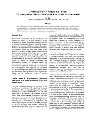 Primary view of object titled 'Complexation of Actinides in Solution: Thermodynamic Measurementsand Structural Characterization'.