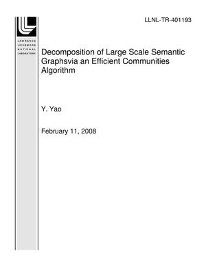 Primary view of object titled 'Decomposition of Large Scale Semantic Graphsvia an Efficient Communities Algorithm'.