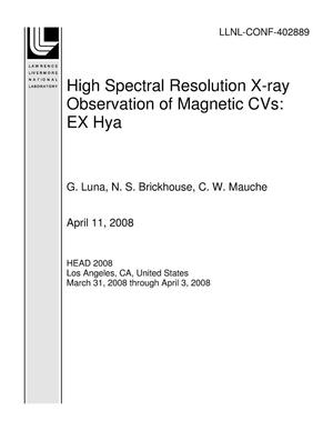 Primary view of object titled 'High Spectral Resolution X-ray Observation of Magnetic CVs: EX Hya'.