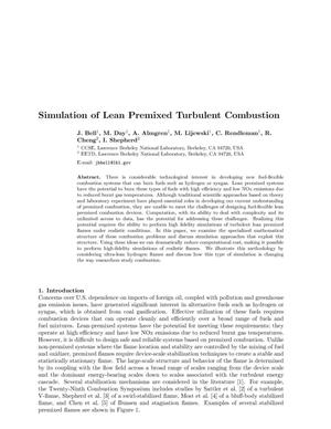 Primary view of object titled 'Simulation of lean premixed turbulent combustion'.
