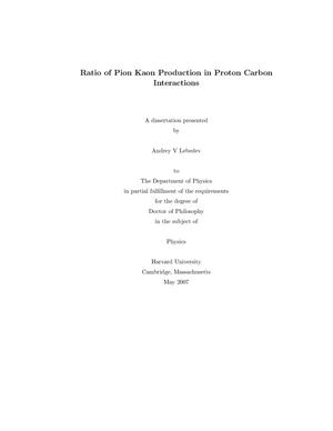 Primary view of object titled 'Ratio of Pion Kaon Production in Proton Carbon Interactions'.