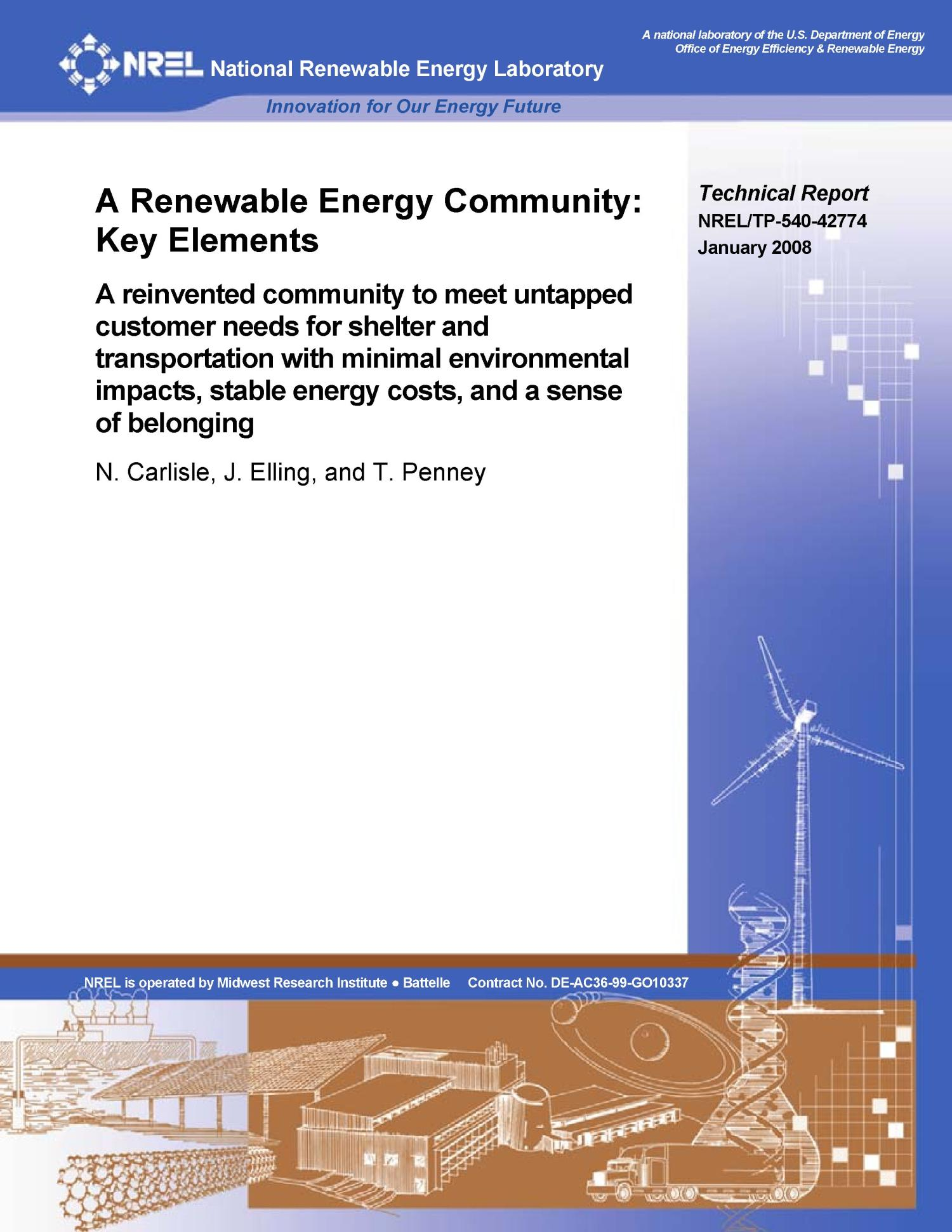 Renewable Energy Community: Key Elements                                                                                                      [Sequence #]: 1 of 35