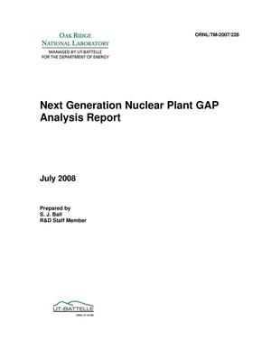 Primary view of object titled 'Next Generation Nuclear Plant GAP Analysis Report'.