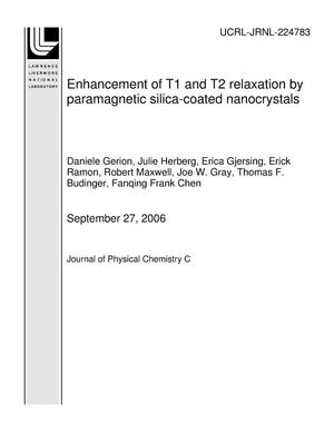Primary view of object titled 'Enhancement of T1 and T2 relaxation by paramagnetic silica-coated nanocrystals'.