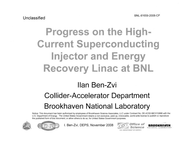 progress on the high current superconducting injector and energy
