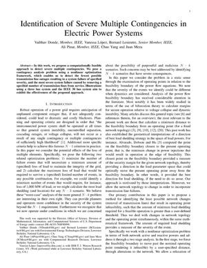 Primary view of object titled 'Identification of Severe Multiple Contingencies in Electric PowerSystems'.