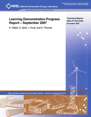 Primary view of object titled 'Learning Demonstration Progress Report -- September 2007'.