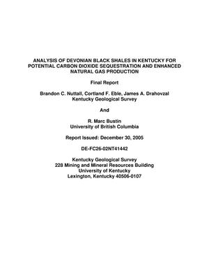 Primary view of object titled 'Analysis of Devonian Black Shales in Kentucky for Potential Carbon Dioxide Sequestration and Enhanced Natural Gas Production'.