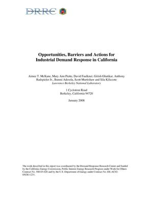 Primary view of object titled 'Opportunities, Barriers and Actions for Industrial Demand Response in California'.