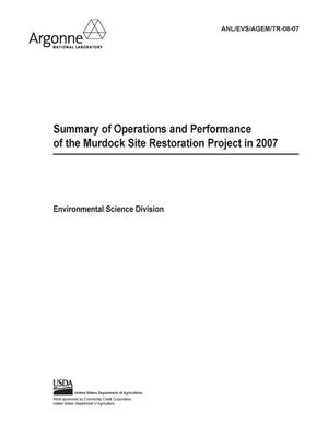 Primary view of object titled 'Summary of operations and performance of the Murdock site restoration project in 2007.'.