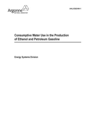 Primary view of object titled 'Consumptive water use in the production of ethanonl and petroleum gasoline.'.