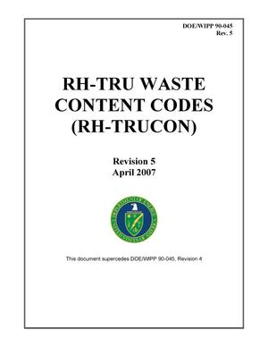 Primary view of object titled 'RH-TRU Waste Content Codes (RH TRUCON)'.